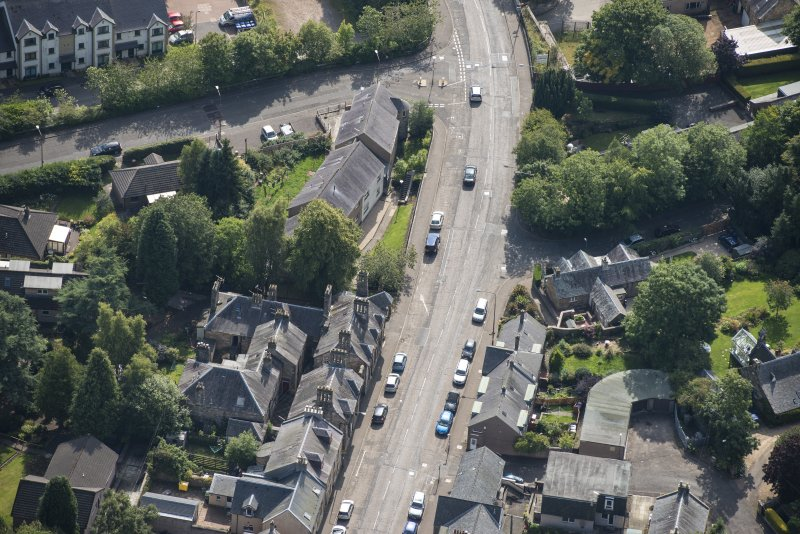 Oblique aerial view of Bridge Street and Parkend, looking SSE.