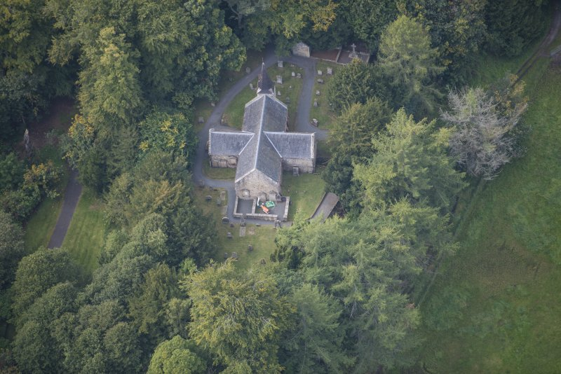 Oblique aerial view of Glencorse Old Parish Church, looking W.