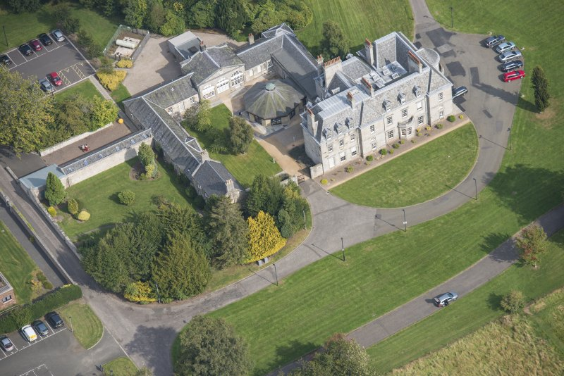 Oblique aerial view of The Bush House Estate, looking NE.