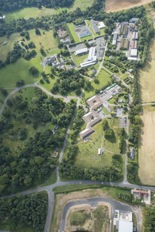 Oblique aerial view of The Bush House Estate, looking S.
