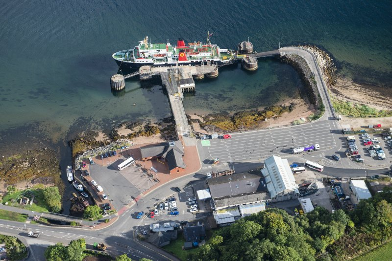 Oblique aerial view of Brodick Pier, looking NNE.