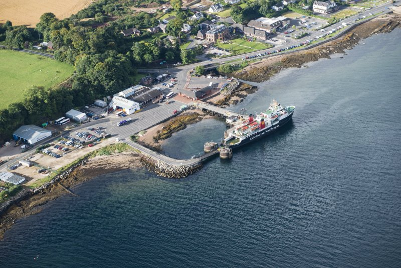 Oblique aerial view of Brodick Pier, looking SW.
