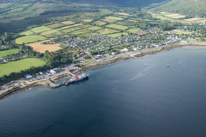 General oblique aerial view of Brodick, looking SSW.