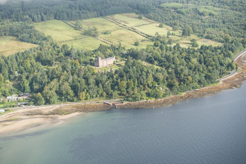 General oblique aerial view of Brodick Castle and Old Quay, looking NE.