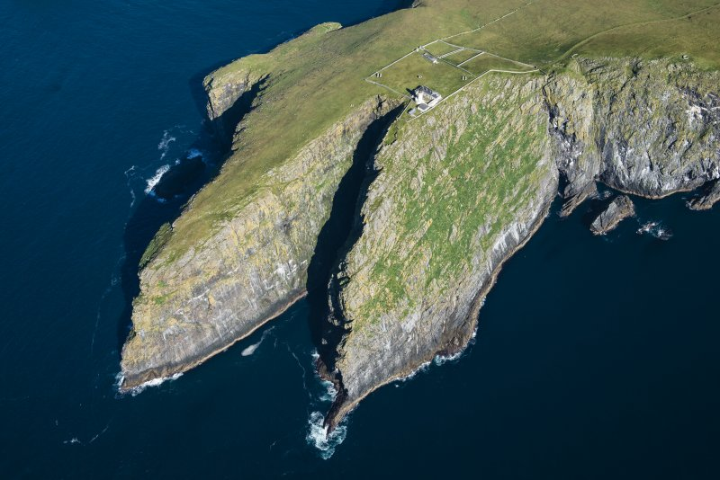 Oblique aerial view of Dun Briste and Barra Head, looking ENE.