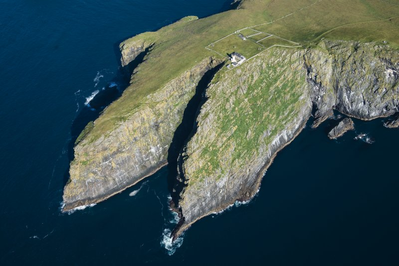 Oblique aerial view of Dun Briste and Barra Head, looking NE.