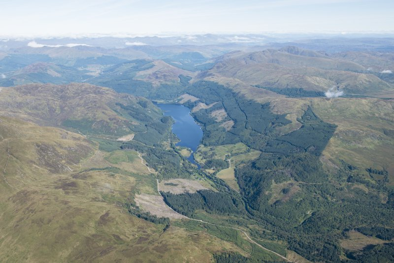 General oblique aerial view centred on Loch Lubnaig, looking N.