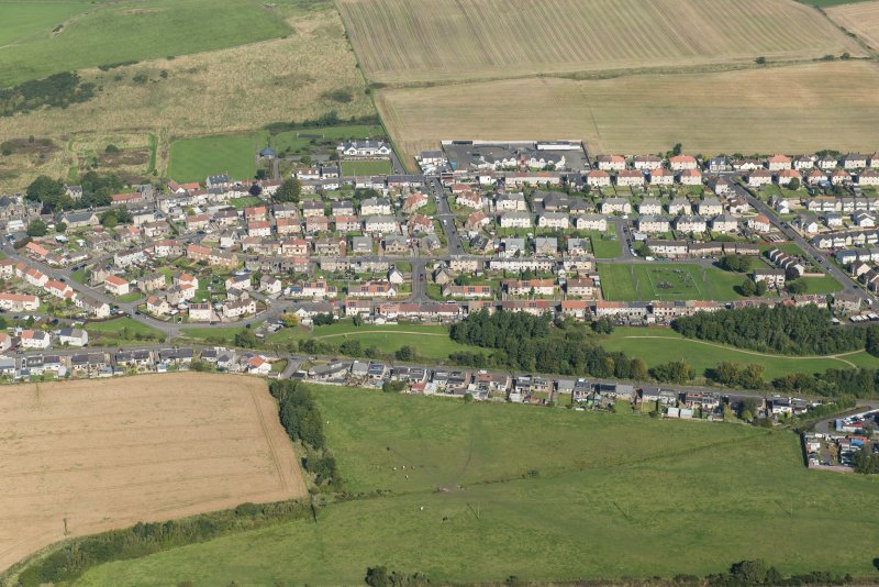 Oblique aerial view of Kinglassie, looking N.