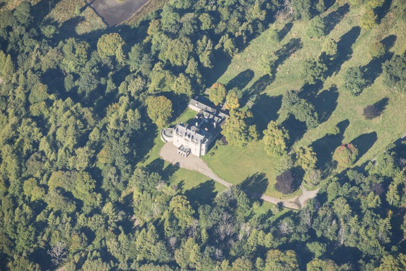 Oblique aerial view of Arndilly House, looking WNW.