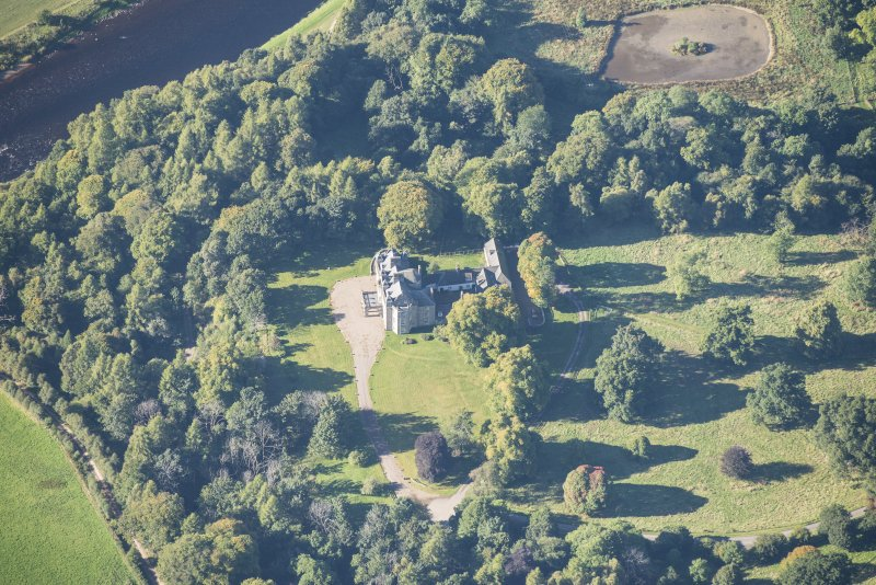 Oblique aerial view of Arndilly House, looking WSW.