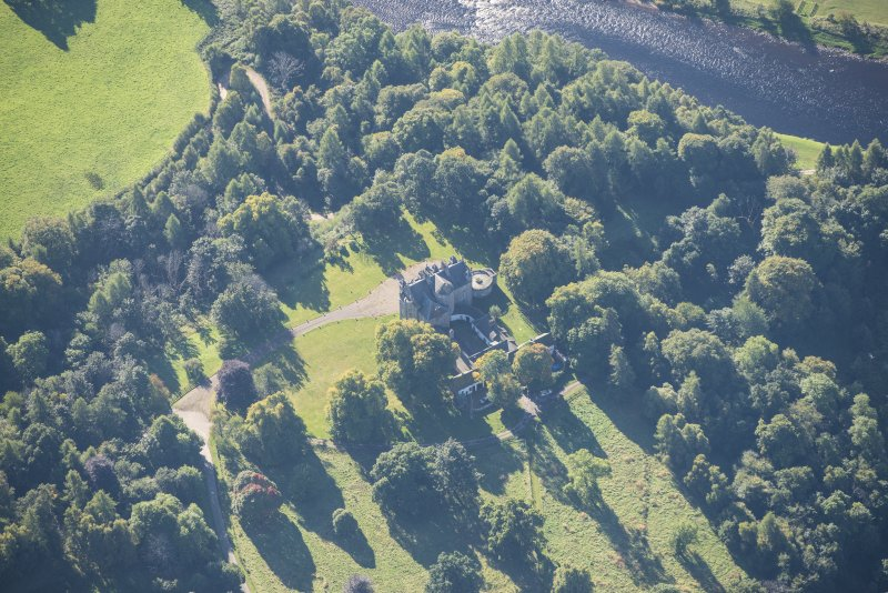 Oblique aerial view of Arndilly House, looking S.