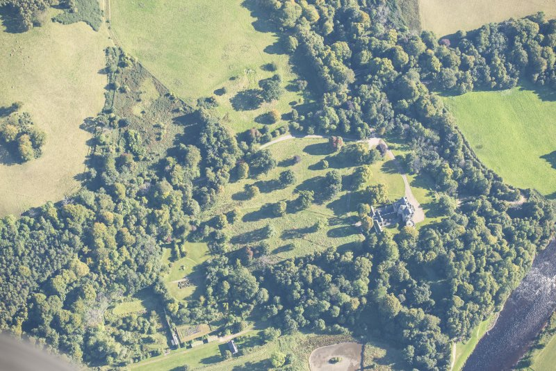 Oblique aerial view of Arndilly House, looking ENE.