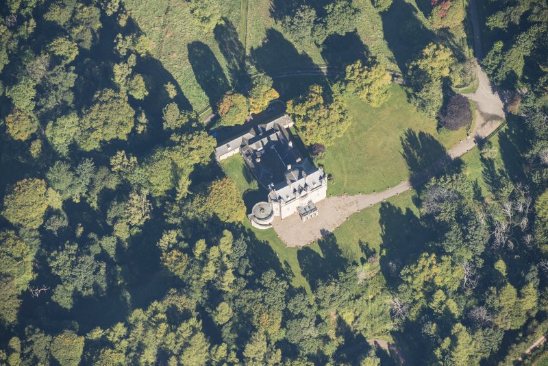 Oblique aerial view of Arndilly House, looking NNW.
