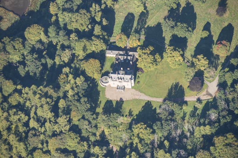 Oblique aerial view of Arndilly House, looking NW.