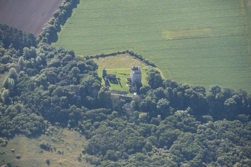 Oblique aerial view of Spynie Palace, looking SSE.