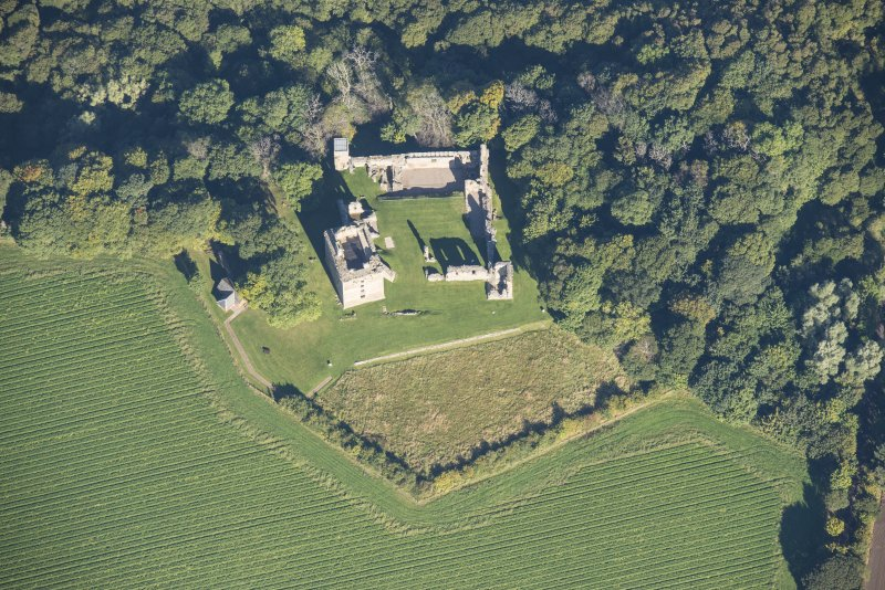 Oblique aerial view of Spynie Palace, looking N.