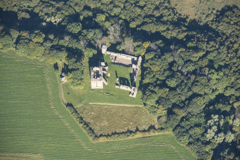 Oblique aerial view of Spynie Palace, looking NNW.