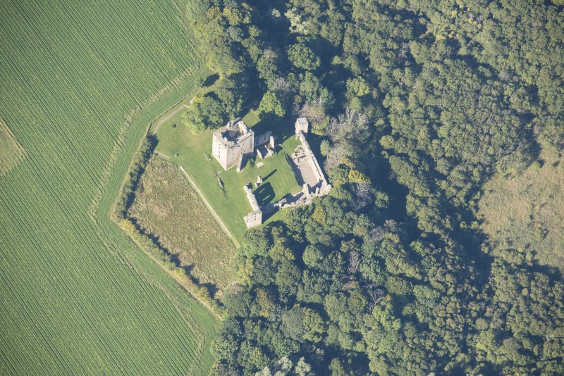 Oblique aerial view of Spynie Palace, looking W.