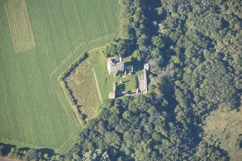 Oblique aerial view of Spynie Palace, looking WSW.
