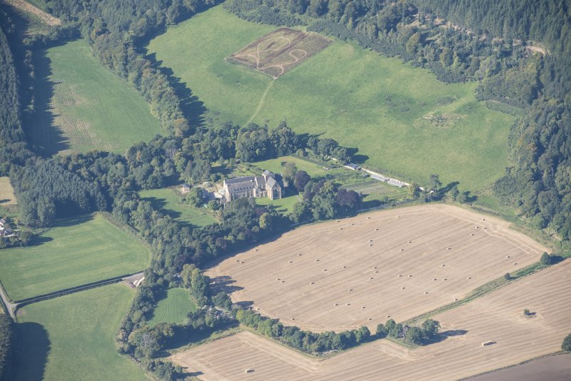 Oblique aerial view of Pluscarden Abbey, looking WSW.