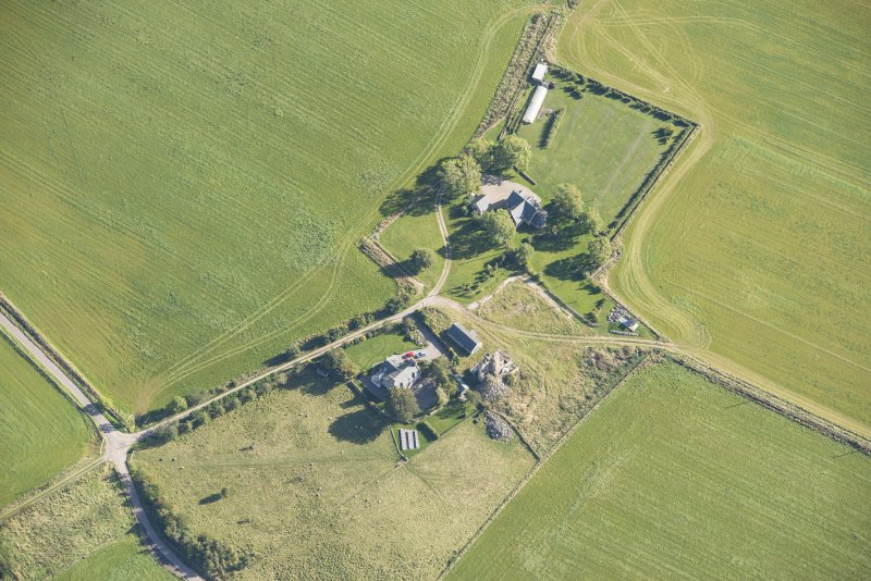 Oblique aerial view of Blervie Castle, looking ESE.