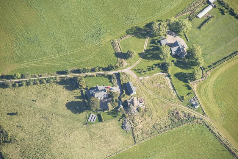 Oblique aerial view of Blervie Castle, looking E.
