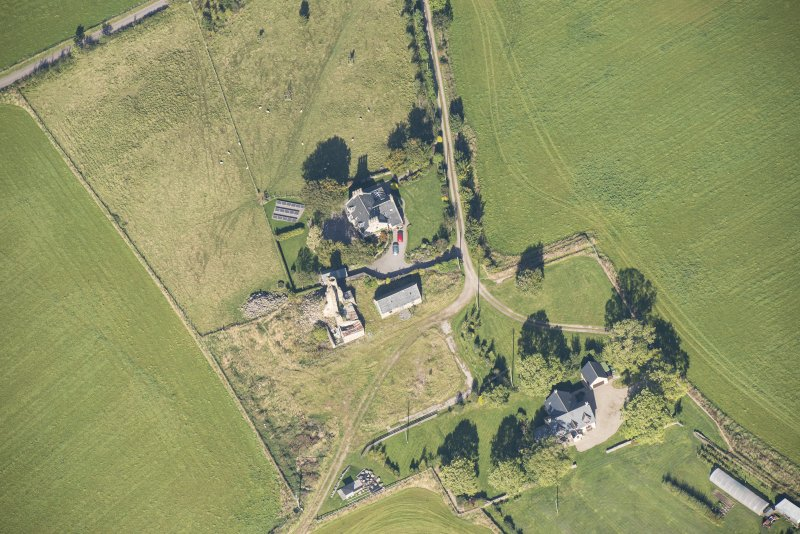 Oblique aerial view of Blervie Castle, looking NNW.