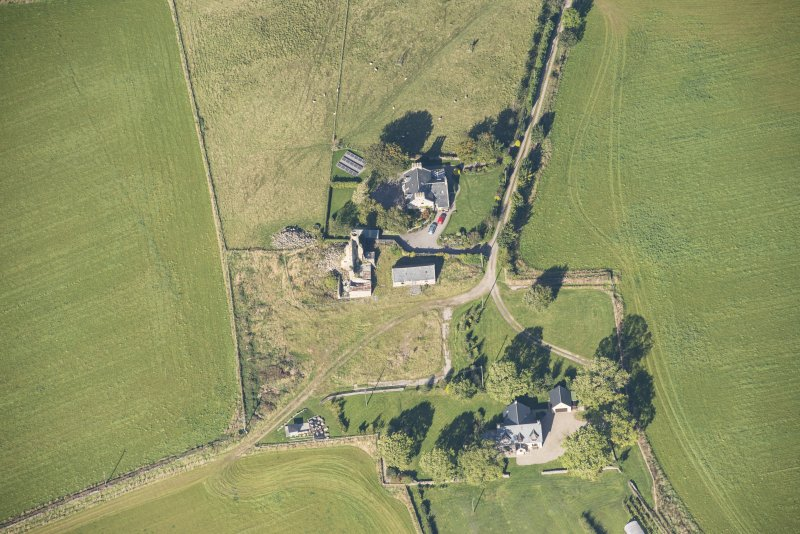 Oblique aerial view of Blervie Castle, looking NW.