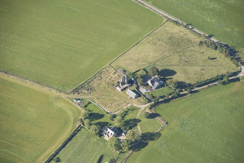 Oblique aerial view of Blervie Castle, looking WSW.