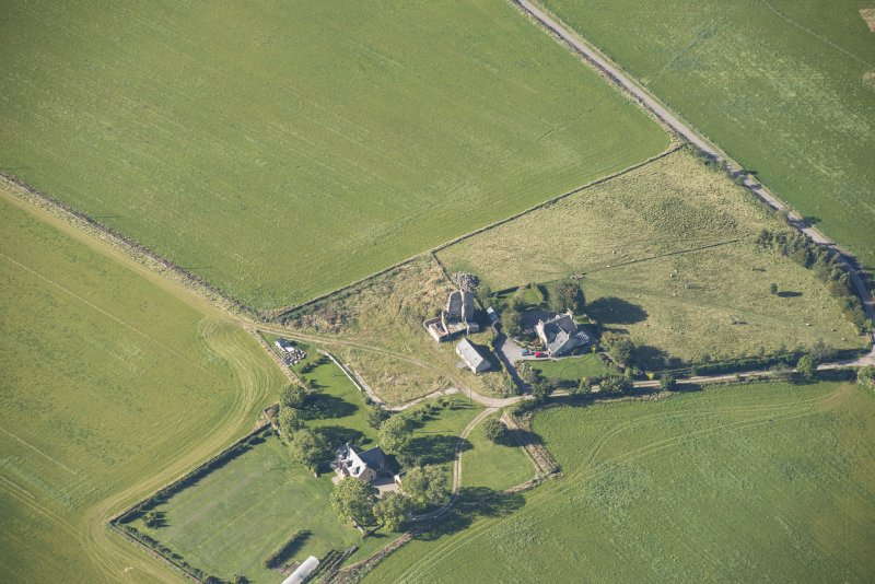 Oblique aerial view of Blervie Castle, looking SW.