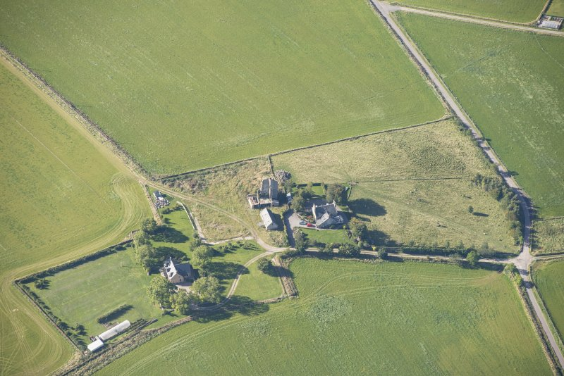 Oblique aerial view of Blervie Castle, looking SSW.