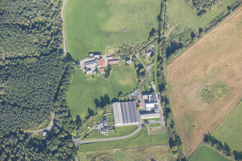 Oblique aerial view of Dallas Dhu Distillery, looking NNW.