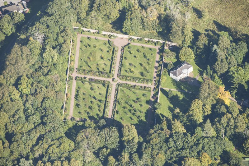 Oblique aerial view of Culloden House Walled Garden, looking NE.