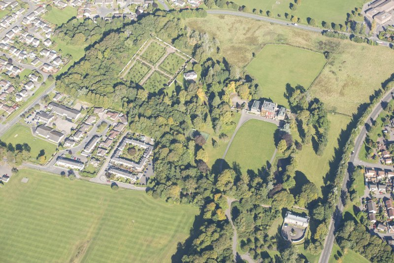 Oblique aerial view of Culloden House, looking NNE.