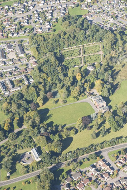 Oblique aerial view of Culloden House, looking NNW.