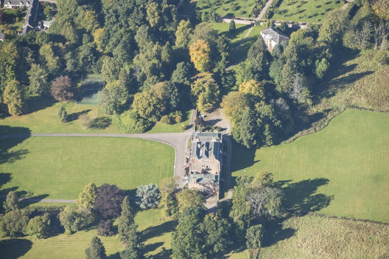 Oblique aerial view of Culloden House, looking WNW.