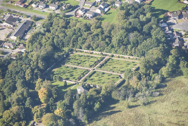 Oblique aerial view of Culloden House Walled Garden, looking WNW.