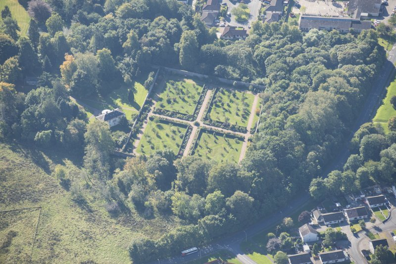 Oblique aerial view of Culloden House Walled Garden, looking SW.