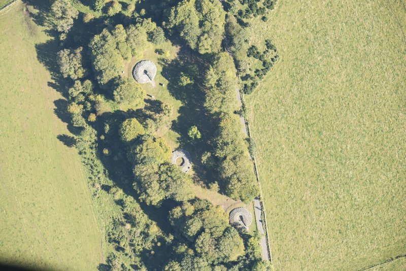 Oblique aerial view of Clava Cairns, looking ENE.