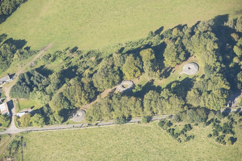 Oblique aerial view of Clava Cairns, looking NNW.