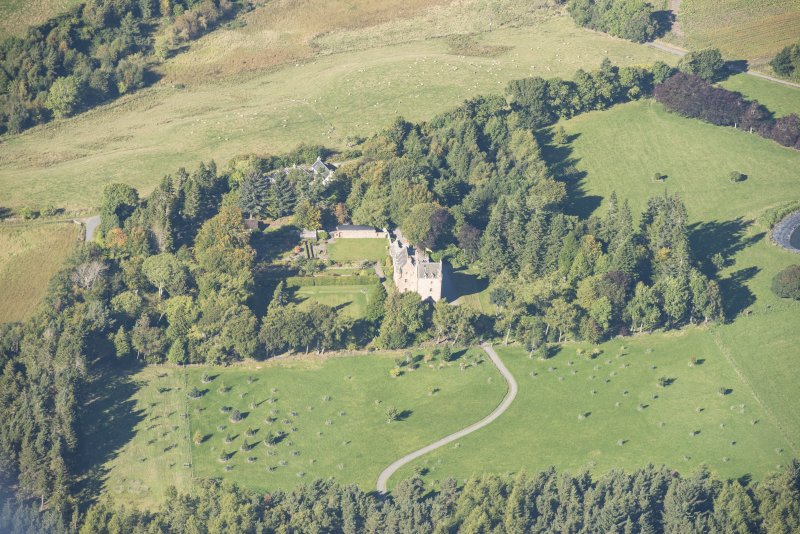 Oblique aerial view of Dalcross Castle, looking NW.