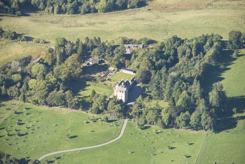 Oblique aerial view of Dalcross Castle, looking WNW.
