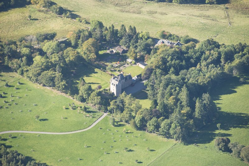 Oblique aerial view of Dalcross Castle, looking W.