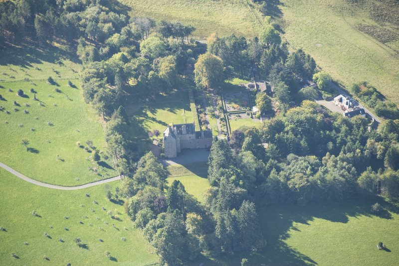 Oblique aerial view of Dalcross Castle, looking WSW.