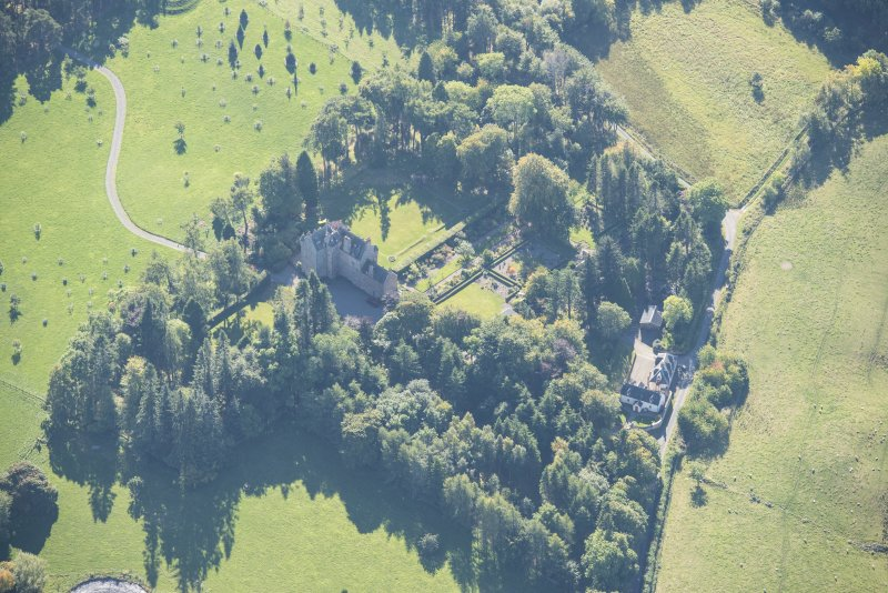 Oblique aerial view of Dalcross Castle, looking S.