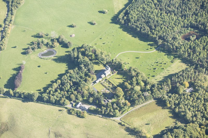 Oblique aerial view of Dalcross Castle, looking E.