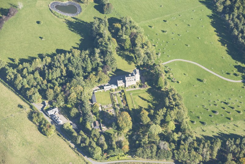 Oblique aerial view of Dalcross Castle, looking ENE.