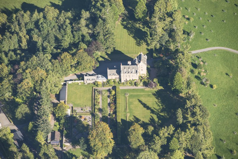 Oblique aerial view of Dalcross Castle, looking NE.