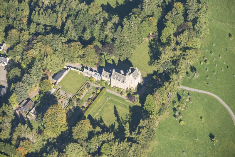 Oblique aerial view of Dalcross Castle, looking NNE.