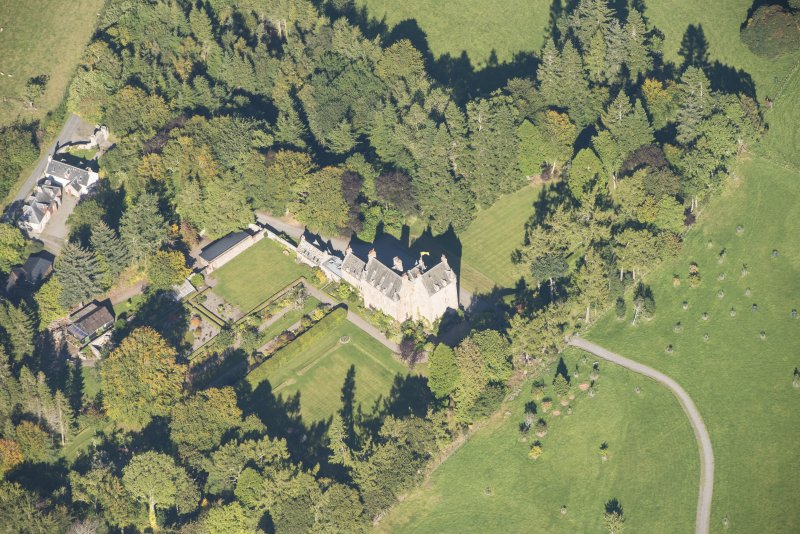 Oblique aerial view of Dalcross Castle, looking N.